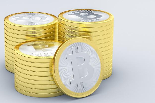 3d render złote stosy bitcoinów na białym tle