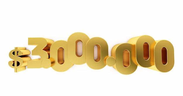 3d render złotego dolara $3000000 na białym tle