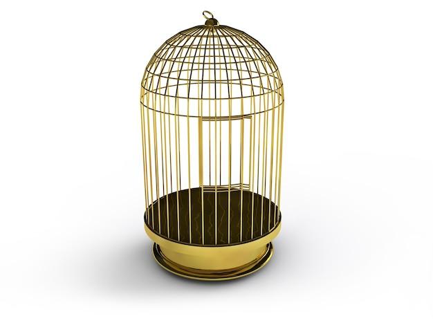 3d render złotej klatki dla ptaków