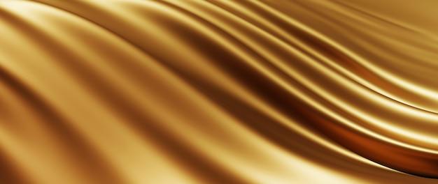 3d render złotej tkaniny. opalizująca folia holograficzna. streszczenie moda tło.