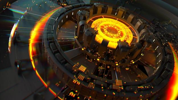 3d render złożonej struktury obliczeniowej ze świecącym elementem pośrodku. koncepcja centrum sztucznej inteligencji. struktura procesora.