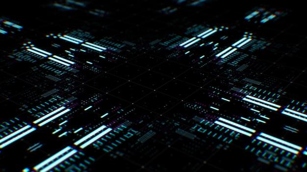 3d render złożonej technologii tła. renderowanie wielowarstwowe. streszczenie przetwarzanie danych.