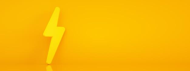 3d render znaku energii na pomarańczowym tle, układ panoramiczny
