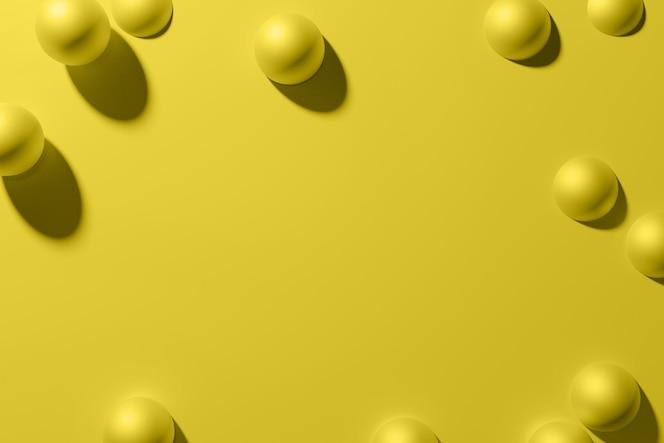 3d render żółta matowa metaliczna rama sfer na monochromatycznym tle płaski styl leżał