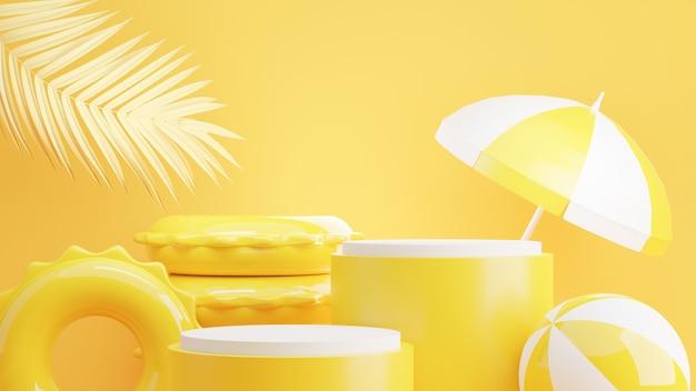 3d render żółtego podium z letnią koncepcją do wyświetlania produktów