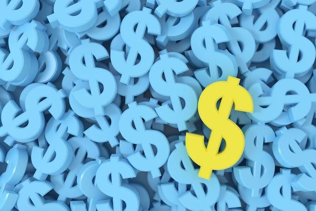 3d render żółty znak dolara wśród niebieskiego tła znaków dolara