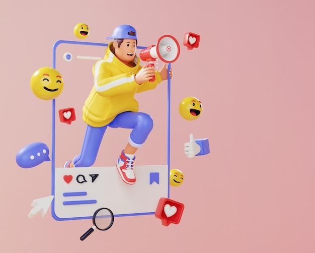 3d renderin młodego człowieka z marketingiem w mediach społecznościowych megafon