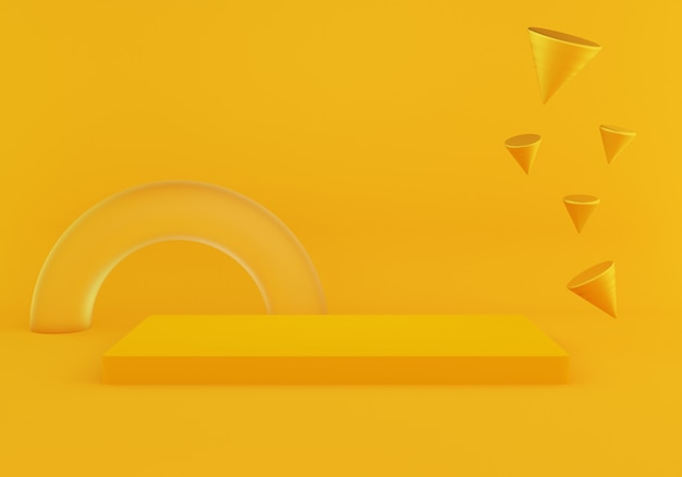 3d rendering abstrakcjonistycznego minimalnego geometria kształta pusty podium na żółtym kolorze.