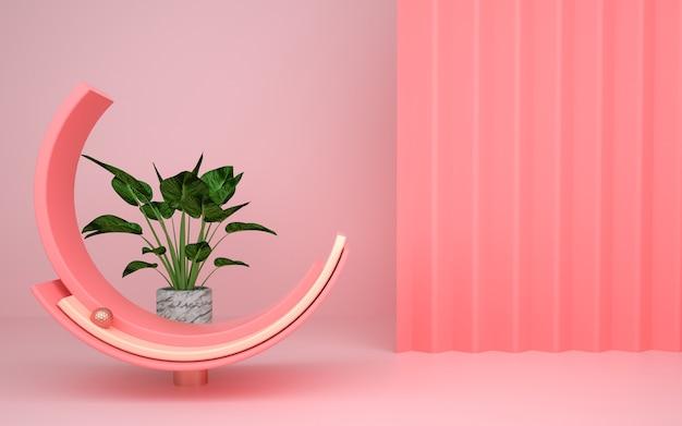 3d rendering abstrakcyjna geometryczna platforma z kwiatowymi dekoracjami do wyświetlania makiety