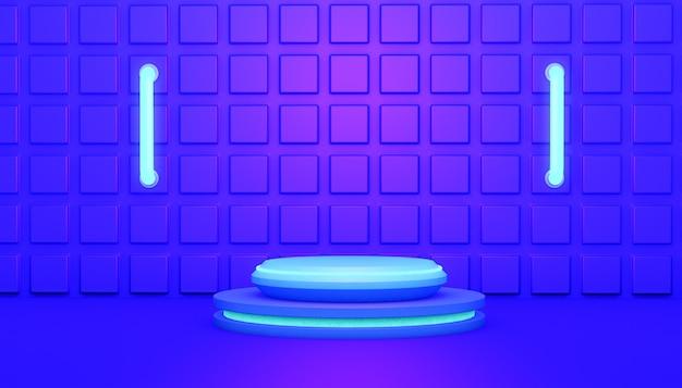 3d rendering abstrakcyjne tło z podium rozjarzony na niebiesko