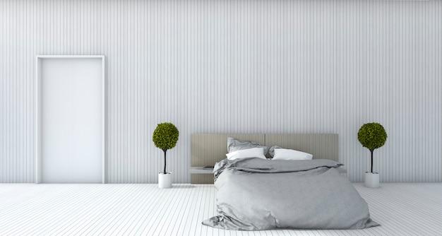 3d rendering biała minimalna sypialnia z rośliną