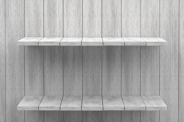 3d rendering, białej półki drewniany stołowy tło dla produktu pokazu, biały drewniany tekstury tło