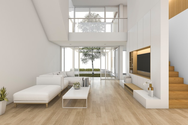 3d rendering biały drewniany salon w pobliżu schodów i na zewnątrz