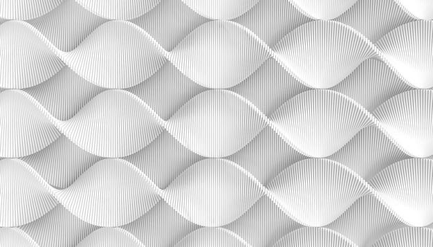 3d rendering biały geometryczny kręcony faborek