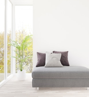 3d rendering biały pokój dzienny i szara kanapa pusta ściana