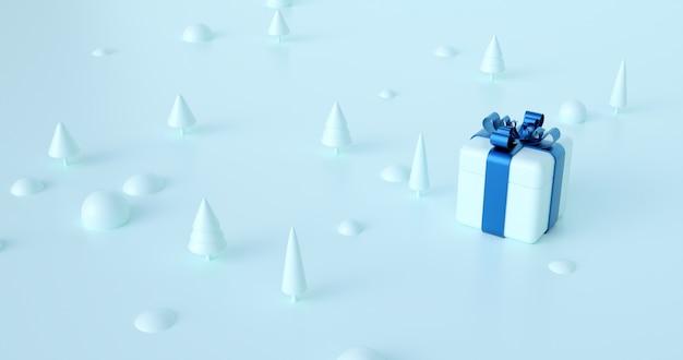 3d rendering biały prezenta pudełko z błękitnym faborkiem.