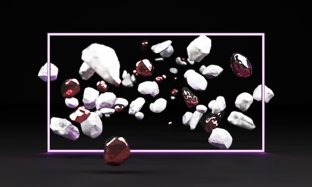 3d rendering bielu marmuru piedestał odizolowywający na czarnym tle