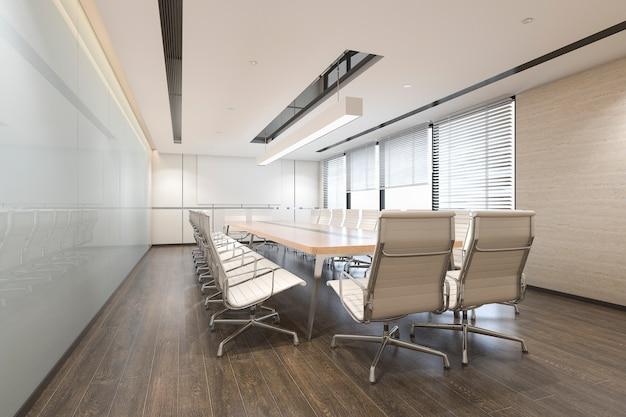 3d rendering biznesowy pokój konferencyjny na wysokim wzrosta budynku biurowym