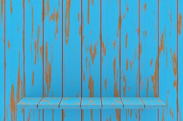 3d rendering, błękitnej półki drewniany stołowy tło dla produktu pokazu, błękitny drewniany tekstury tło, pusta kopii przestrzeń dla promoci, plakaty, urodziny