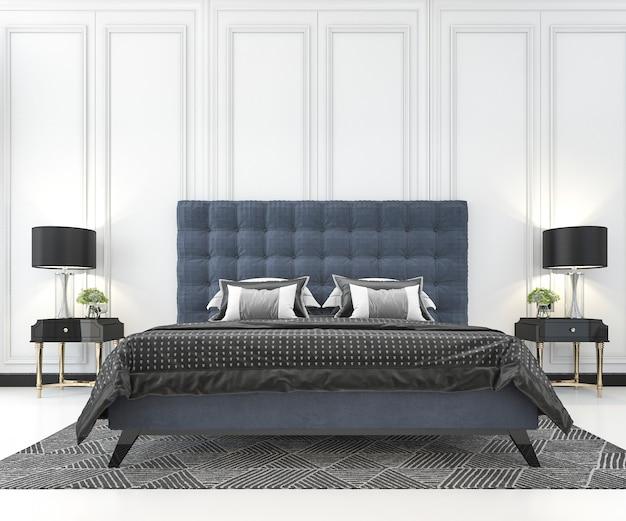 3d rendering błękitny klasyczny łóżko w klasycznej sypialni z rośliną