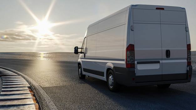 3d rendering, ciężarówka na drodze podróżuje słońce, ładunku transportu pojęcie