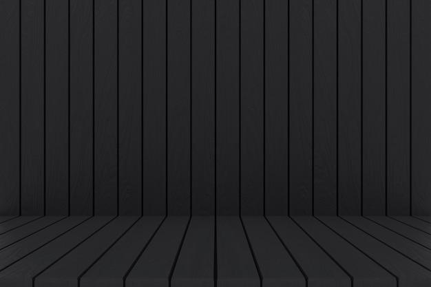 3d rendering. czarne panele drewniane ściany i podłogi tło.