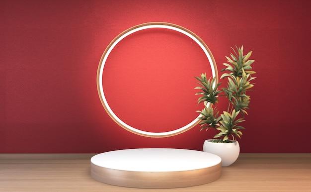 3d rendering drewniany podium japonia tradycja dla pokazu produktu.