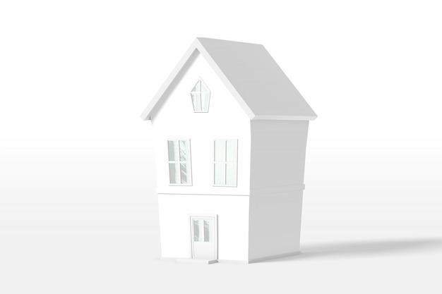 3d rendering dwupiętrowy dom w kolorze białym na białym tle