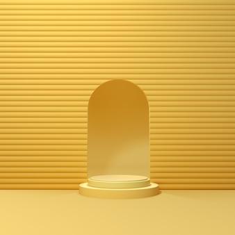 3d rendering geometrical podium na żółtym tle