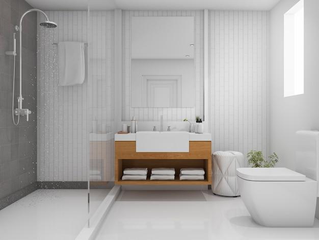 3d rendering jasna łazienka z prysznicem