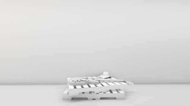 3d rendering kraju styl i gitara elektryczna na barłogowym drewnie