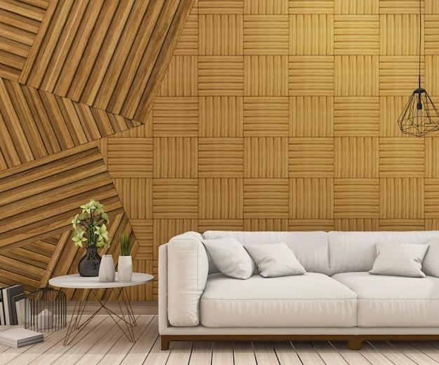 3d rendering ładna kanapa z abstrakcjonistycznym drewnianym ściana projektem