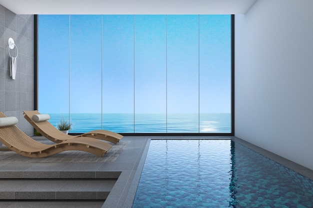 3d rendering ławka łóżko drewniane w pobliżu basenu i widokiem na morze z okna o nowoczesnym wzornictwie