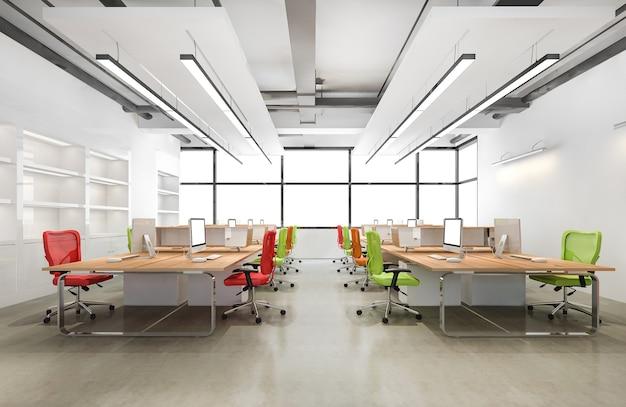 3d rendering loft spotkanie biznesowe i pokój pracy na budynku biurowym