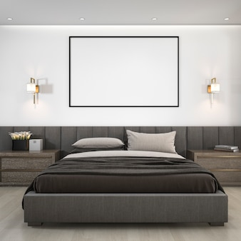 3d rendering luksusowy nowożytny sypialnia apartament w hotelu z ramą