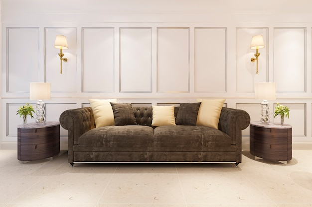 3d rendering makiety klasyczny salon w stylu skandynawskim z sofą