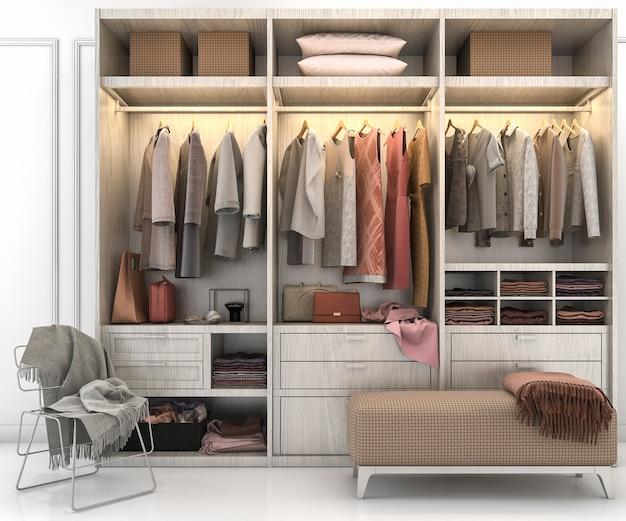 3d rendering minimalne drewno skandynawskie chodzić w szafie z szafą