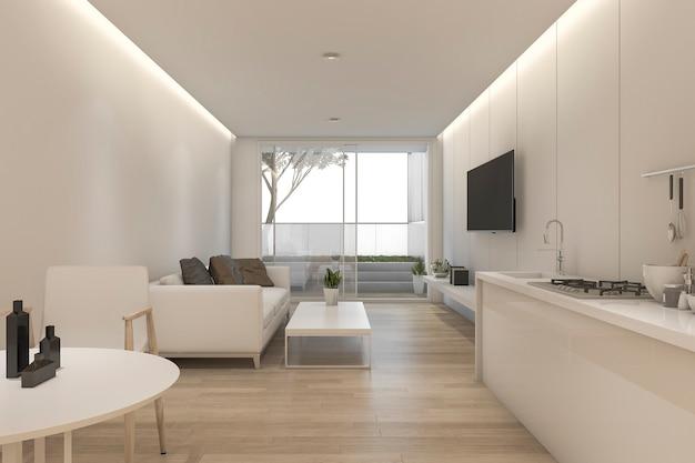 3d rendering minimalny biały salon i kuchnia z wystrojem