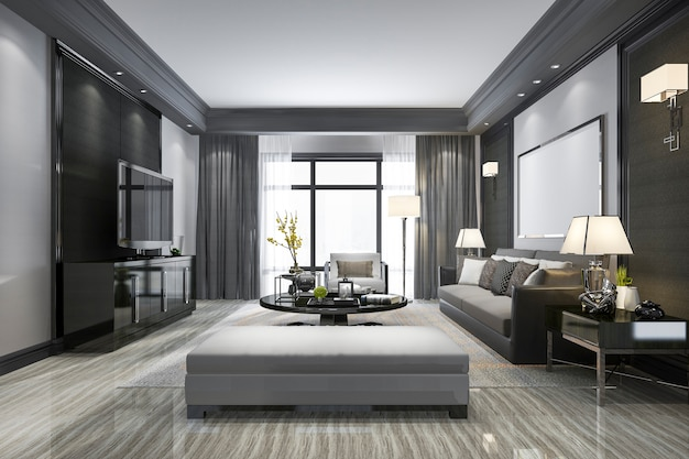 3d rendering nowoczesny salon i półka