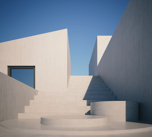 3d rendering nowożytny dom z podium
