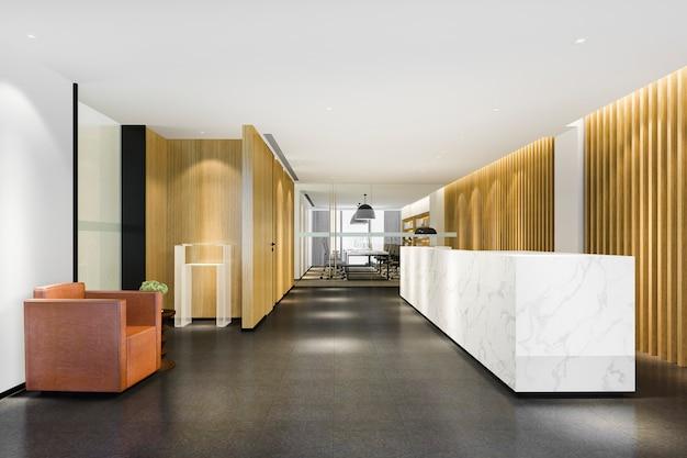 3d rendering nowożytny luksusowy hotel, biurowa recepcja i salon z krzesłem pokoju konferencyjnego