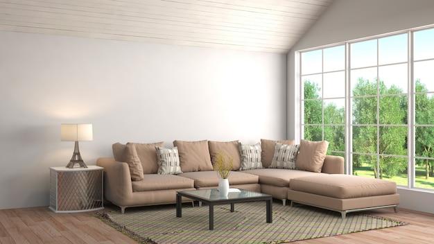 3d rendering nowożytny pokój dzienny