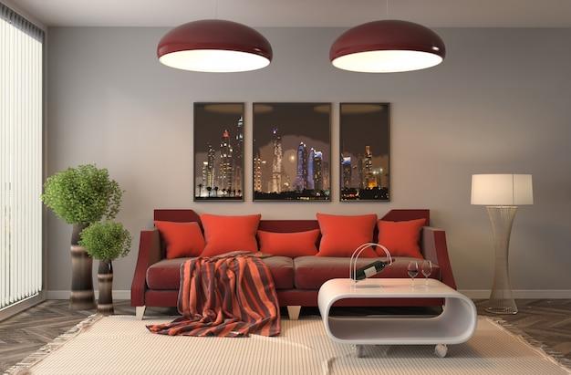 3d rendering nowożytny żywy pokój z leżanką