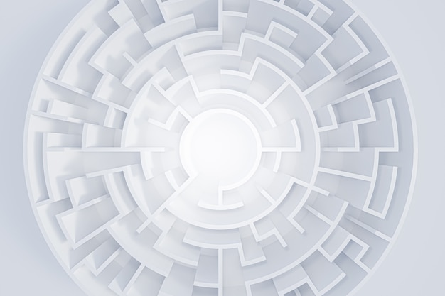 3d rendering okrągły labirynt w widoku z góry na białym tle