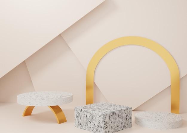 3d rendering pastelowy złoty marmur wyświetlacz podium produkt stojak na tle. abstrakcyjna minimalna geometria. obraz premium