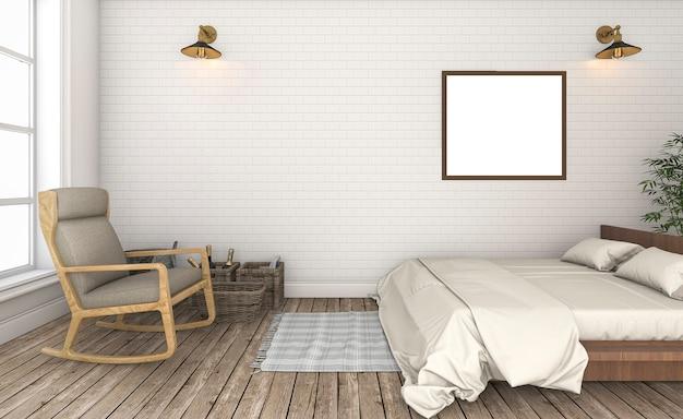 3d rendering piękna biała ściana z cegieł rocznika sypialnia