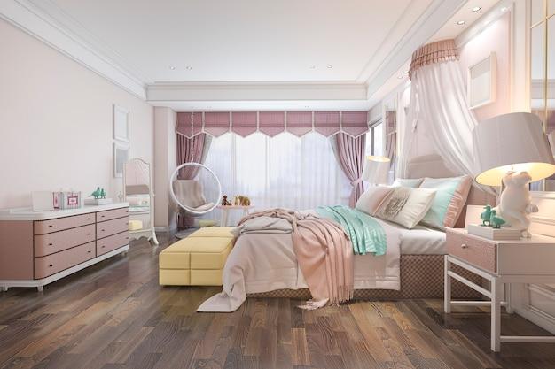 3d rendering piękna różowa rocznik dzieciaka sypialnia