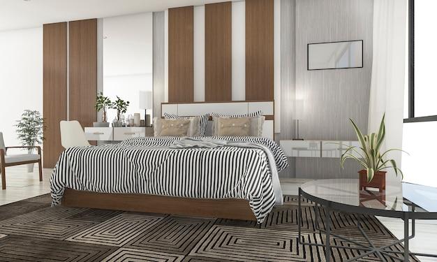 3d rendering piękna sypialnia z ładnym tarasem