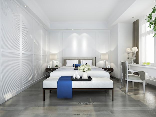 3d rendering piękny błękitny rocznik sypialni apartament w hotelu z tv i pracującym stołem