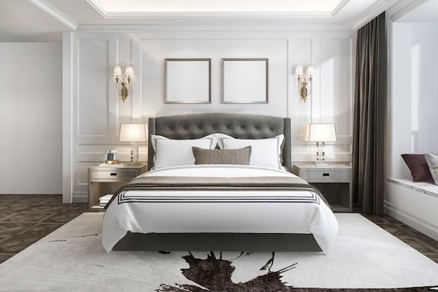 3d rendering piękny luksusowy apartament w hotelu z telewizorem